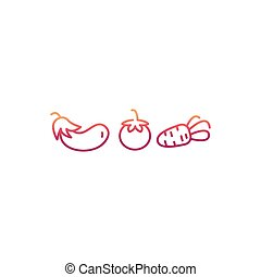 ligne fixe, légumes, icônes