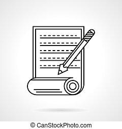 ligne fixe, vecteur, manuscrit, icône