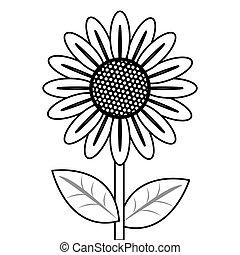 ligne, fleur, noir, icône