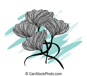 ligne, fleurs, art