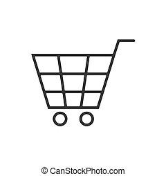 ligne, fond blanc, charrette, icône