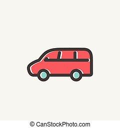 ligne, fourgon, mince, transport, icône