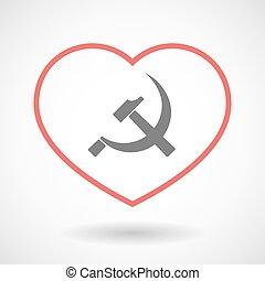 ligne, foyer, icône, communiste, symbole