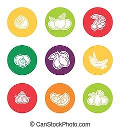 ligne, fruit, ensemble, icône