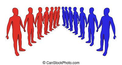 ligne, gens, -, étrangers