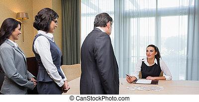 ligne, gens, bureau, enregistrement, business