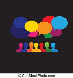 ligne, gens, icônes, dans, social, réseau, &, média, -, vecteur, graphique