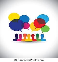 ligne, gens, icônes, dans, social, réseau, &, média, -,...
