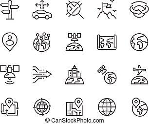 ligne, global, navigation, icônes