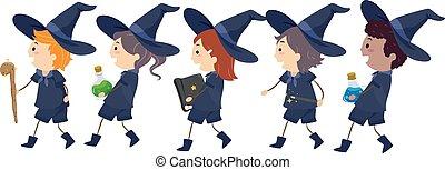 ligne, gosses, stickman, magiciens