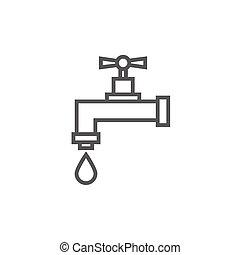 ligne, goutte, robinet, égouttement, icon.