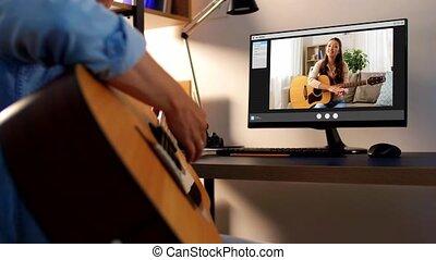 ligne, guitare, jeu, apprentissage, maison, homme