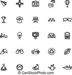 ligne, hipster, fond blanc, icônes