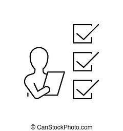 ligne, homme, fond blanc, liste contrôle, icône