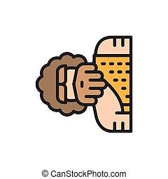 ligne, homme, icon., homo, neanderthal, pithecanthropus,...