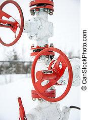 ligne., huile, production, valves