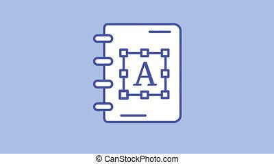 ligne, icône, alpha, cahier, canal