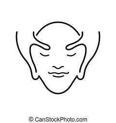 ligne, icône, massage facial, style