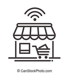 ligne, icône, unique, magasin