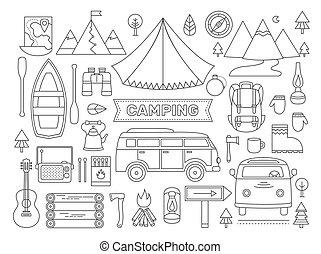 ligne, icônes, ensemble, de, camping