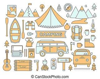 ligne, icônes, ensemble, de, camping.