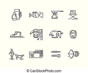 ligne, icônes, ensemble, de, chasse, peche, camping.