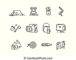 ligne, icônes, ensemble, de, randonnée, tourisme, camping.