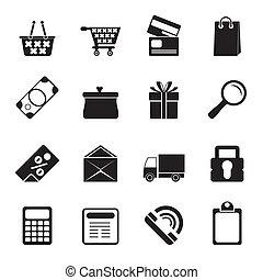 ligne, icônes, magasin