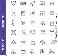 ligne, icônes, sécurité, set.