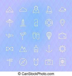 ligne, icônes voyage, ensemble