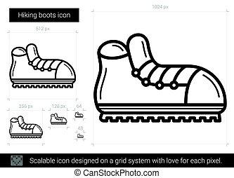 ligne, icon., bottes, randonnée