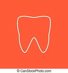 ligne, icon., dent