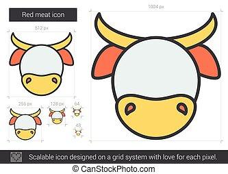 ligne, icon., viande rouge
