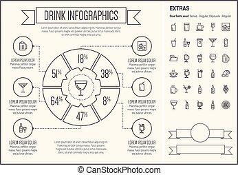 ligne, infographic, conception, gabarit, boisson