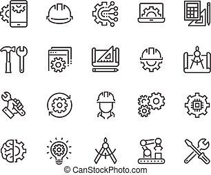 ligne, ingénierie, icônes