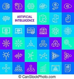 ligne, intelligence artificielle, icônes