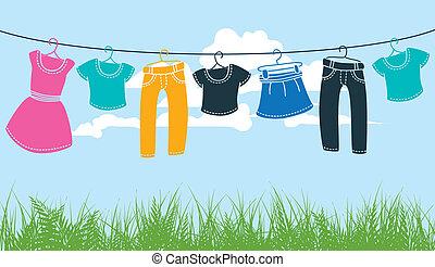 ligne, lavant vêtements