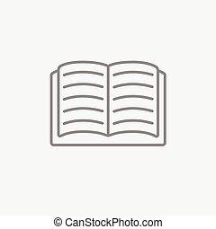 ligne, livre, ouvert, icon.