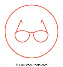 ligne, lunettes, icon.