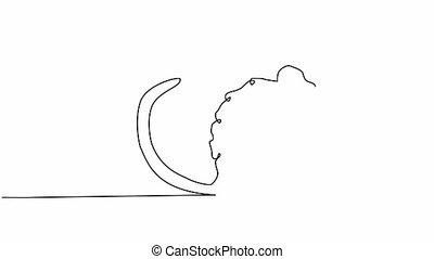 ligne, main, mignon, continu, illustration, dessiné, souris