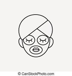 ligne, masque, facial, icône