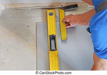 ligne, mesuré, charpentier, mains