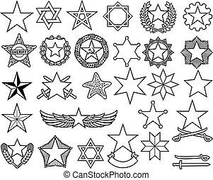 ligne mince, étoiles, ensemble, icônes