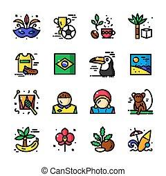 ligne mince, brésil, icônes, vecteur, illustration