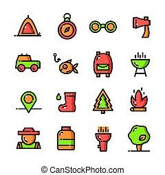 ligne mince, camping, icônes, ensemble, vecteur, illustration