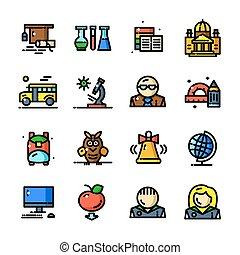 ligne mince, connaissance, icônes, ensemble, vecteur, illustration