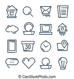 ligne mince, icônes, ensemble, vecteur, illustration