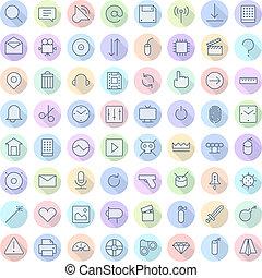 ligne mince, icônes, pour, interface