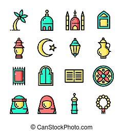ligne mince, islam, icônes, ensemble, vecteur, illustration
