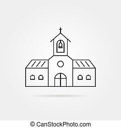 ligne mince, noir, église, à, ombre